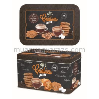 R2S.080ICOT Kekszes fémdoboz 22x14x13cm It's Cookies Time