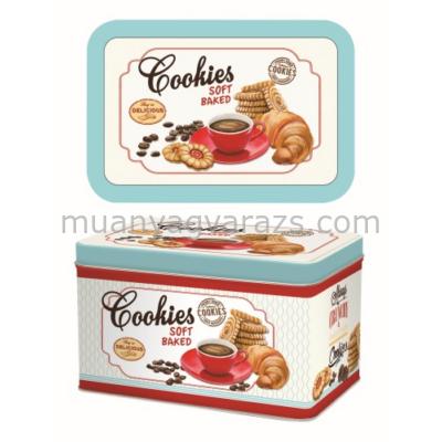 R2S.080CKIE Kekszes fémdoboz 22x14x13cm Cookies
