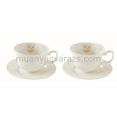 R2S.1270MAFE Porcelán kávéscsésze + alj 2 személyes 120ml, dobozban Maison Café