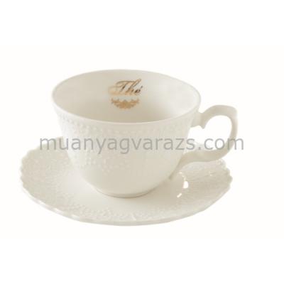 R2S.1269MATE Porcelán csésze aljjal, 250ml, dobozban Maison Thé