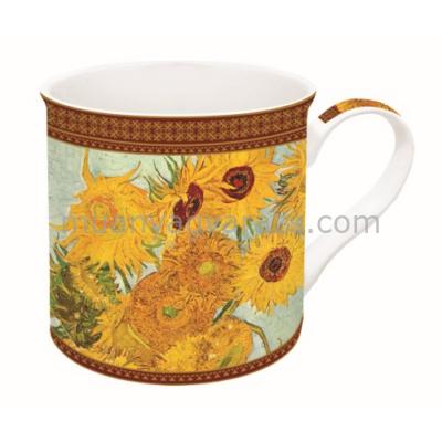 R2S.170VAN1 Porcelán bögre dobozban,300ml,Van Gogh:Napraforgók