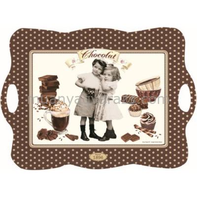 R2S.417CHOV Hullámos tálca 53x38cm, Chocolate Vintage