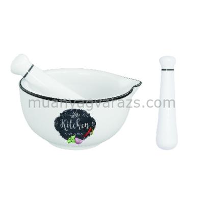 R2S.1607KIBK Porcelán mozsár törővel 12cm, dobozban, Kitchen Basics