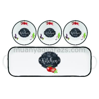R2S.1618KIBK Porcelán tálka szett 3db, porcelán tálcán, 30x10cm, dobozban, Kitchen Basics