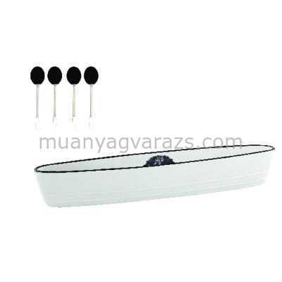 R2S.1612KIBO Porcelán csónaktál 4 koktélnyárssal, 25,6x4,5x4cm, dobozban, Kitchen Basics