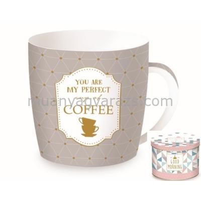 R2S.217PECC Porcelán bögre 350ml,fémdobozban,My Perfect Cup of Coffee