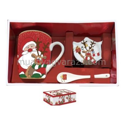 R2S.1044CRFR Porcelán bögre 300ml kanállal,teafilter tartóval,dobozban,Christmas Friends
