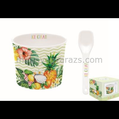 R2S.0083TRO2 Porcelán fagyis tálka 8,5cm, kanállal, dobozban, Ice Cream Tropical02