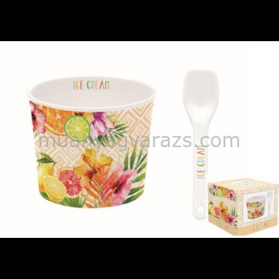 R2S.0083TRO3 Porcelán fagyis tálka 8,5cm, kanállal, dobozban, Ice Cream Tropical03