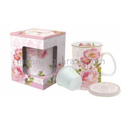 R2S.316FLDA Porcelán teásbögre szűrős 300ml, dobozban, Floral Damask