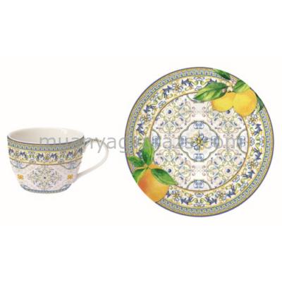 R2S.939CAPL Porcelán teáscsésze aljjal, 240ml, Capri Agrumi