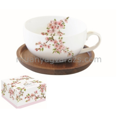 R2S.1082SAKU Porcelán teáscsésze akácfa aljjal,250ml,dobozban,Sakura