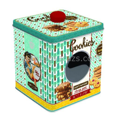 R2S.092COOS Ablakos fémdoboz 13x13x14,5cm, Cookies