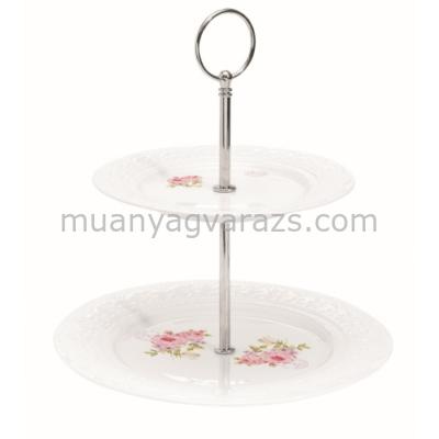 R2S.1024RSE Porcelán süteményes állvány 2 emeletes D21cm x H24cm dobozban, Roses