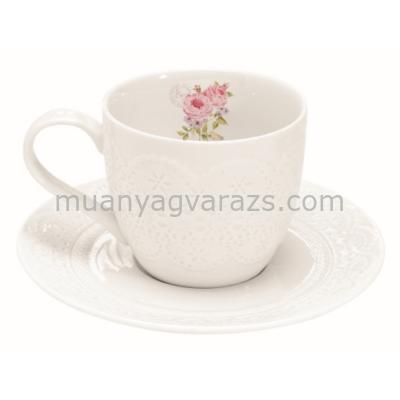 R2S.1025RSE Porcelán teáscsésze aljjal 250ml dobozban, Roses