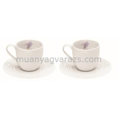 R2S.1026LAV Porcelán espresso csésze+alj 2 személyes 100ml, dobozban, Lavande