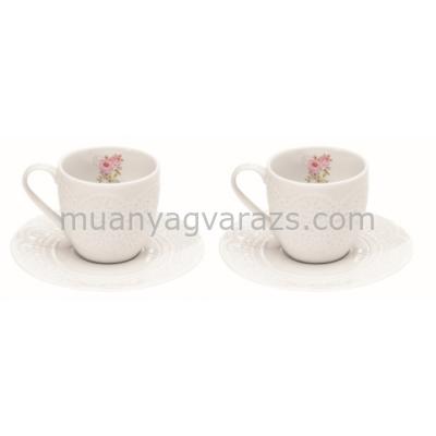 R2S.1026RSE Porcelán espresso csésze+alj 2 személyes 100ml, dobozban, Roses