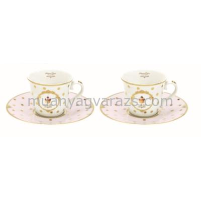 R2S.1107DOC Porcelán espresso csésze+alj 2 személyes 80ml, dobozban Dots & Cupcakes