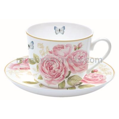 R2S.318CATE Reggeliző csésze aljjal dobozban, Delicate Roses