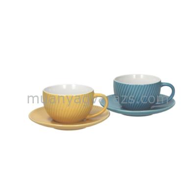 T.P.CO0185224154 Kerámia cappucino csésze+alj 220ml,2 személyes,2 színű,Concerto Twist,Andrea Fontebasso1760
