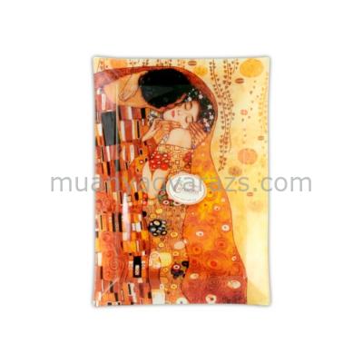"""H.C.198-1021 Üvegtányér 28x20cm """"Klimt:The Kiss"""""""
