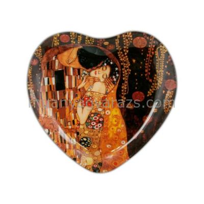H.C.198-1091 Üvegtányér szív 18,5x19,5cm,Klimt:The Kiss