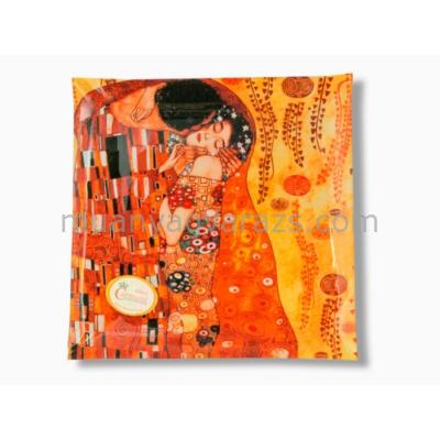 """H.C.198-1231 Üvegtányér 25x25cm """"Klimt: The Kiss"""""""