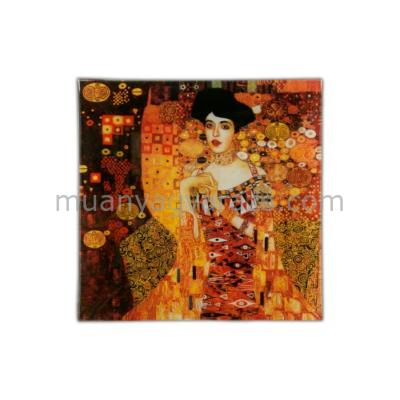H.C.198-1402 Üvegtányér 13x13cm,Klimt:Adele Bloch