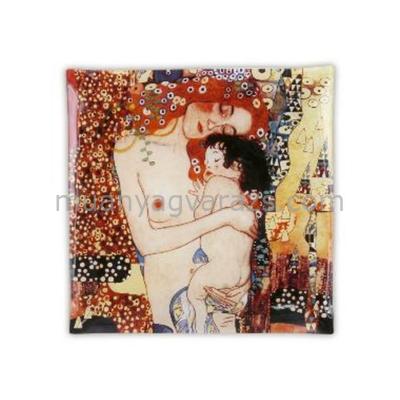 H.C.198-1900 Üvegtányér 25x25cm, Klimt:Anya gyermekével
