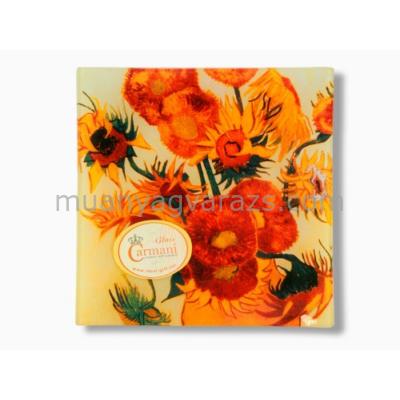 H.C.198-3004 Üvegtányér 15x15cm Van Gogh:Napraforgók