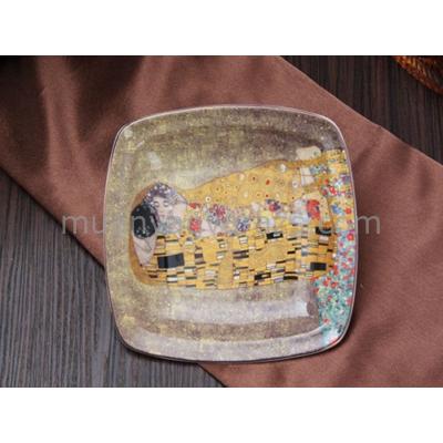 H.C.532-6505 Porcelán szögletes tányér 19x19cm, Klimt:The Kiss