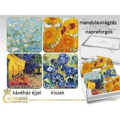 H.C.830-0002 Parafa poháralátét 10x10cm, Van Gogh:Kávéház éjjel