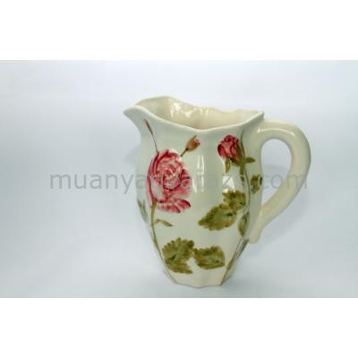 V.K.23-01 Régi rózsás kanna,kerámia,kézzel festett