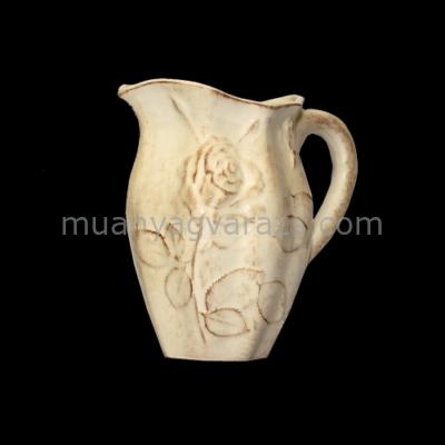 V.K.23-01-02 Antik rózsás kanna,kerámia,kézzel festett