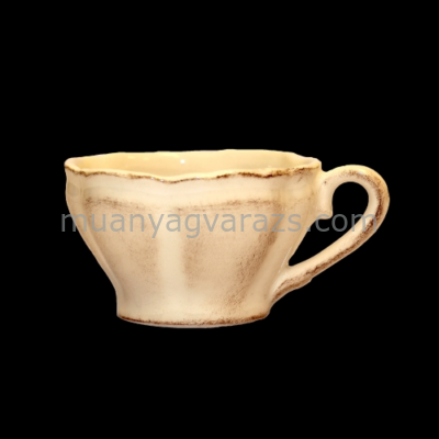 V.K.27-07 Romantik teáscsésze, natur,kerámia,kézzel festett