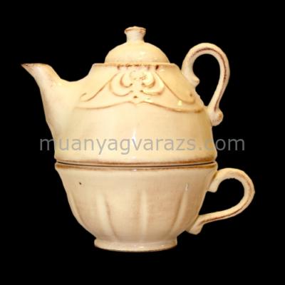 V.K.27-36 Romantik kanna csészével,natur,kerámia,kézzel festett