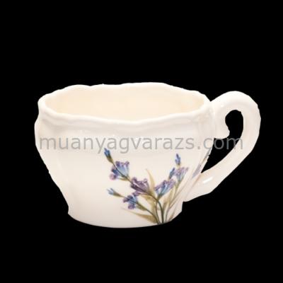 V.K.28-07 Romantik festett teáscsésze,levendula,kerámia,kézzel festett