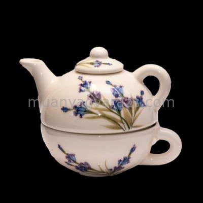 V.K.28-17 Romantik festett egyszemélyes teás,levendula,kerámia,kézzel festett