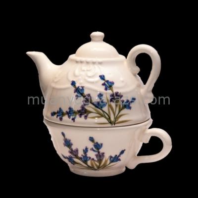 V.K.28-36 Romantik festett kiskanna-csészével,levendula,kerámia,kézzel festett