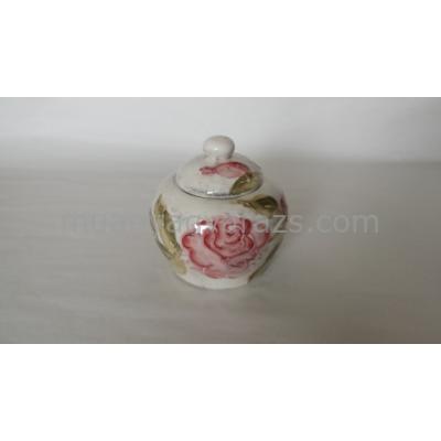 V.K.30-03 Domború mintás cukortartó,virágos bordó,kerámia,kézzel festett