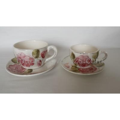 V.K.30-06 Domború mintás kávés alj,virágos bordó,kerámia,kézzel festett