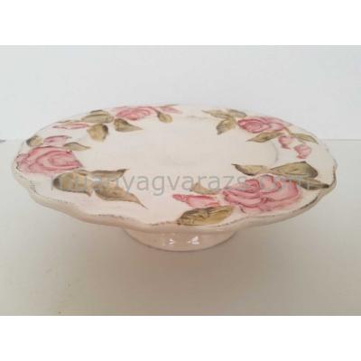 V.K.30-28 Domború mintás tortatál,virágos bordó,kerámia,kézzel festett