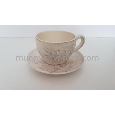 V.K.31-05 Domború mintás capuccinos csésze,virágos natur,kerámia,kézzel festett