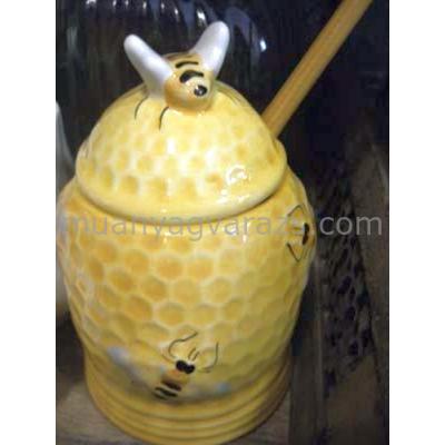 V.K.32-31 Méhecskés méztartó mézcsurgatóval,kerámia,kézzel festett