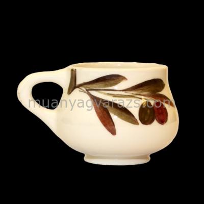 V.K.36-05 Olajbogyós capuccinós csésze,kerámia,kézzel festett