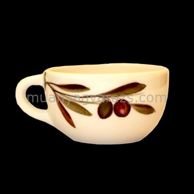 V.K.36-07 Olajbogyós teáscsésze,kerámia,kézzel festett