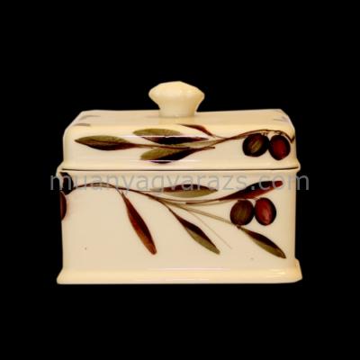 V.K.36-16 Oljbogyós doboz szögletes,kerámia,kézzel festett