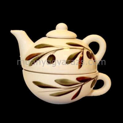 V.K.36-17 Oljbogyós egyszemélyes teás,kerámia,kézzel festett