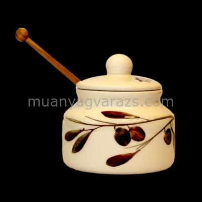 V.K.36-30-01 Olajbogyós méztartó,kicsi csurgatóval,kerámia,kézzel festett
