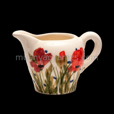 V.K.43-02 Tele virágos tejkiöntő,pipacs,kerámia,kézzel festett